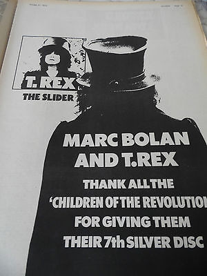 """Marc Bolan & T.rex Thank All """" The Children Of The Revolution"""" 1972 Full Page"""