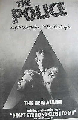 """THE POLICE """"ZENYATTA MONDATTA"""" ALBUM ADVERT FROM 1979 A3 """"dont stand so close to"""