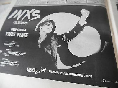 "Inxs  & Michael Hutchins Half Page Advert ""this Time"" 1986 Live Hammersmith Gig"