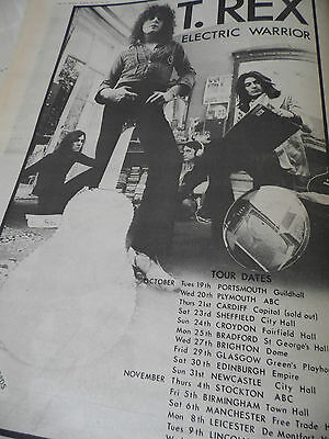 """T.rex Marc Bolan 1971 Album Advert & Tour Dates For """"electric Warrior"""" Full Page"""
