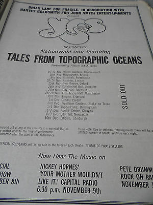 "Yes ""tales From Topographic Oceans"" Album And Tour Soldout  From 1973"
