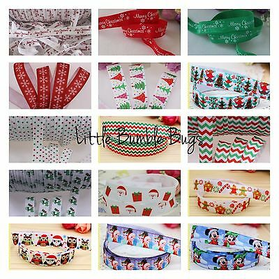 Wholesale Foe Fold Over Elastic - Christmas Prints By The Metre
