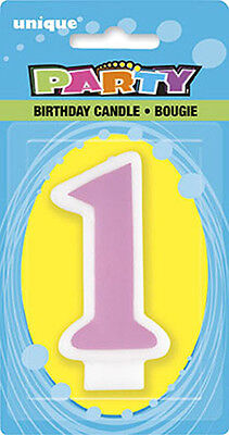 Number 1 Pink candle, Baby girls 1st birthday cake accessories