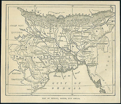 India 1880 engraving MAP OF BENGAL BEHAR AND ORISSA. Printed on back 5.5''x6''