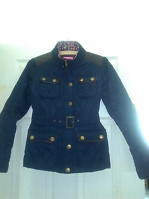Girls Quilted Next Blue  & Brown Jacket Coat Age  11 - 12 152Cm