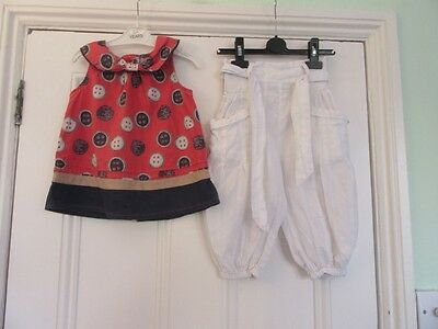 3-4 yrs: Pretty summer outfit - White harem pants + Red/blue button top - Next