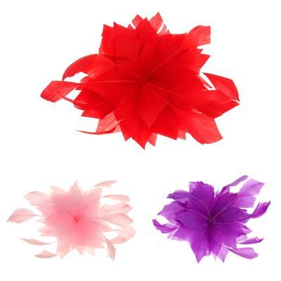 Feather Fascinator Headwear Flower Headpiece Hair Clip Wedding Party Brooch