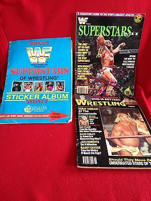 Early 90s Wwf/wwe Wrestling Magazines And Merlin Sticker Album