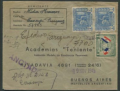 Paraguay 1945 registered cover to Argentina