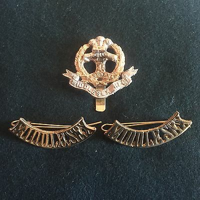 WW1 British army Middlesex shoulder titles and cap badge reproduction