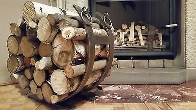 Log holder, log basket, log rack, log burner, wrought iron, hand made