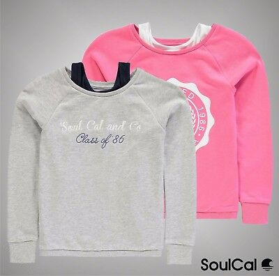Junior Girls Branded SoulCal Stylish Double Layer Sweater Crew Top Size Age 7-13