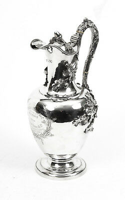 Antique Victorian sterling silver claret jug  1850