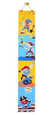 Bigjigs Pirates Childs Height Chart Growth Chart Wooden Colourful Brand New