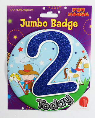 2 Today Boys Jumbo Birthday Badge Cowboy Kids Accessory Clip-On Stand Male Party