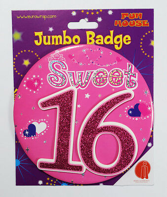 Sweet 16 Birthday Badge Age Jumbo Large Girls Party Decoration 16th Accessory