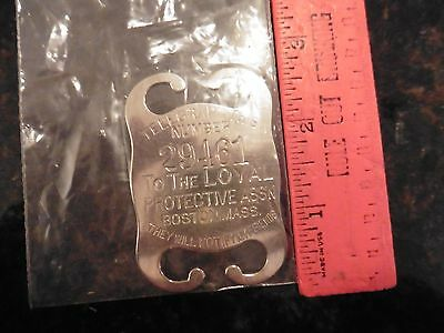 Vintage badge id LOYAL PROTECTIVE INSURANCE CO. BOSTON Telegraph this number