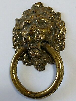 "Lion's Head Drawer Pull Knocker Vintage Brass Metal 2 3/4""   KBC1 H377"