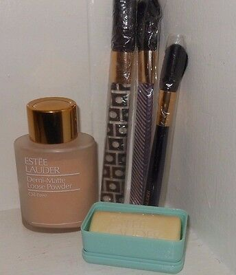 LOT OF 5 VINTAGE ESTEE LAUDER demi mate loose powder.3 brushes,small soap