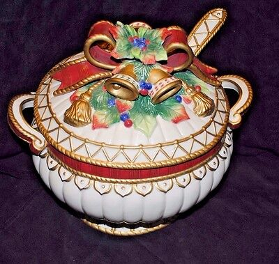Fitz & Floyd Vibrantly Colorful Porcelain Christmas Soup Tureen & Lid w Ladle