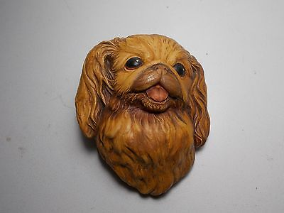 Vintage Bossons Chalkware Wall Plaque Pekinese Dog
