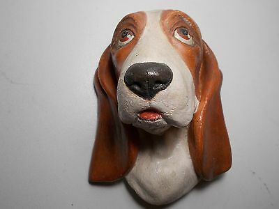 Vintage Bossons Chalkware Wall Plaque Basset Hound Dog 1968