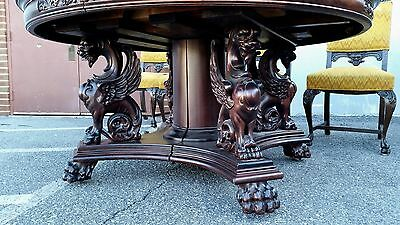 R J Horner 60in Dining Table. Figural Carved Griffins.  Circa 1890s