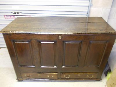 Large Antique Early Georgian Oak Panelled Mule Chest / Coffer