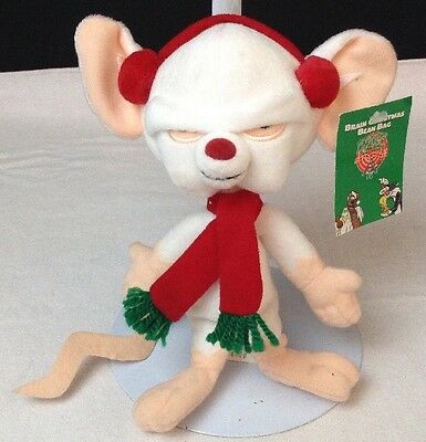 Animaniacs Pinky and The Brain Christmas Beanbag Plush Warner Brothers Bros 1998