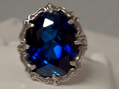 blue 12ct sapphire filigree antique 925 sterling silver ring size 7.5 USA