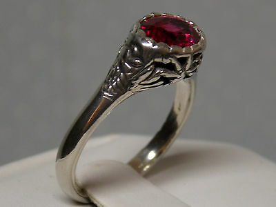 1.50ct red ruby antique 925 sterling silver ring size 5.5 USA