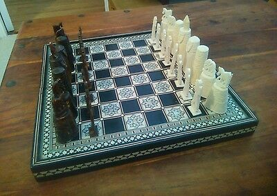 Vintage Antique Bone Hand Carved Chess Set Inlaid Mother Pearl Wooden Board/Case