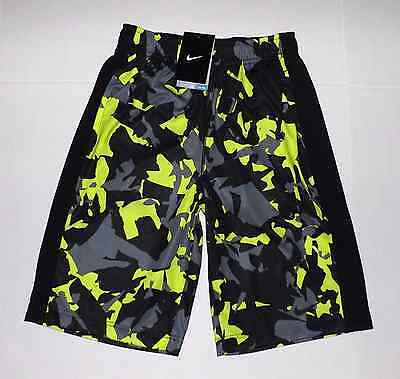 Boy's Nike Dri-Fit Shorts Size Xl 18-20 Black Volt Camo 823900 702 Nwt