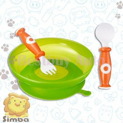 BPA Free Green Suction Pad Plate Orange Spoon Fork Set For Baby Infant Toddler