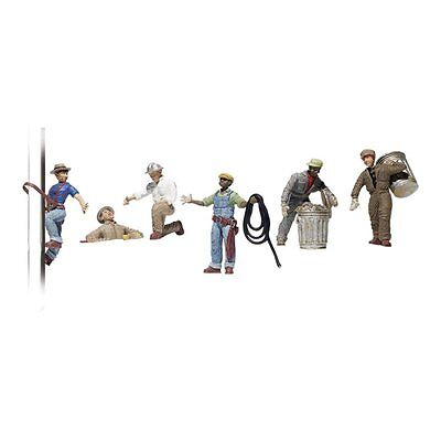 Painted City Workers (OO/HO figures x 6) Woodland Scenics A1826 - free post