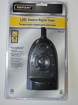 Defiant Outdoor Digital Timer W/ Dusk/dawn Opt Grounded Dualoutlet  Brand New