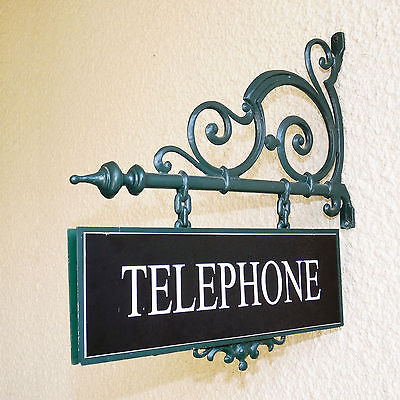 70's Era Pay Phone Double Sided Sign with Mounting Bracket.
