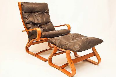 Danish Komfort large lounge chair with ottoman - Danish Vintage Retro Westnofa