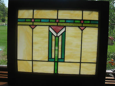 ANTIQUE ARTS & CRAFTS  STAINED GLASS WINDOW - ca. 1915