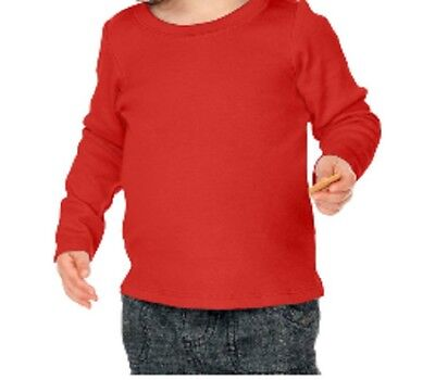 100% Cotton Long Sleeve Infant T Shirt Solid Unisex Sizes 6 Months to 24 Months