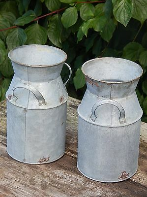 Vintage Style Galvanised Churns  Pair    Home Garden Display