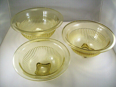 Depression Era Federal Glass Golden Yellow Mixing Bowl Nesting Set Of 3