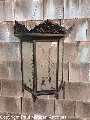 Antique Hanging Lantern Sandwich Glass Etched Panels