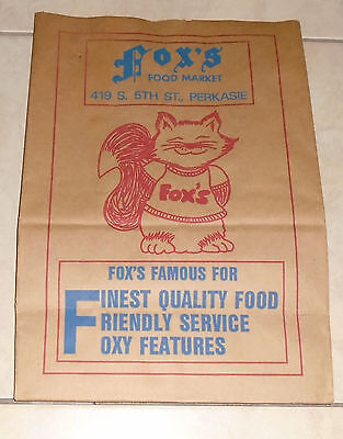 FOX'S Food Market Perkasie PA Brown Grocery Bag Advertising Fox Image Vintage