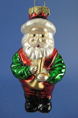 Thomas Pacconi Santa Claus Glass Christmas Tree Ornament Gold Horn