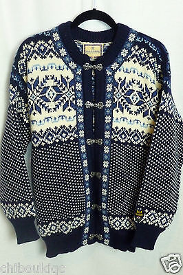 Dale of Norway blue wool cardigan sweater pewter clasps - Medium