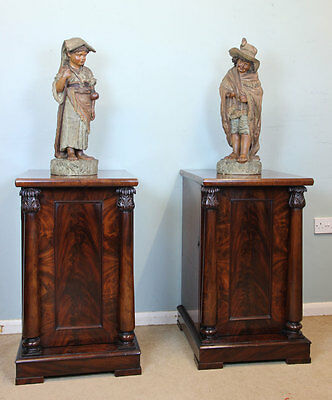 Pair Victorian Mahogany Bedside Cupboards Cabinets / Pedestal Stands 19C
