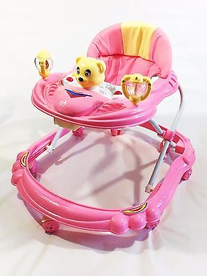 Baby Walker First Steps Activity Bouncer Musical Toy New Push Along Pink Smily