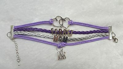 Ferret Mom, Small Pet, Bracelet Purple and Silver with Charms