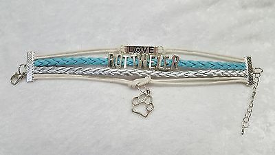 Rottweiler, Dog, Bracelet, Lite Blue, White & Silver With Charms